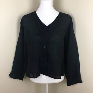FLAX Black Linen Blouse